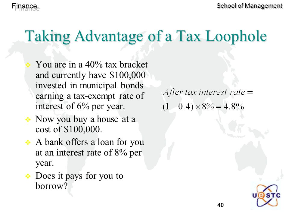 40 Finance School of Management Taking Advantage of a Tax Loophole  You are in a 40% tax bracket and currently have $100,000 invested in municipal bo
