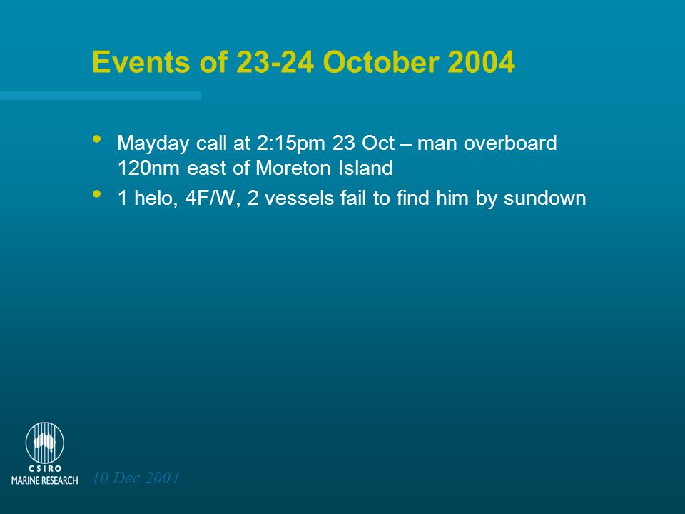10 Dec 2004 Events of 23-24 October 2004 Mayday call at 2:15pm 23 Oct – man overboard 120nm east of Moreton Island 1 helo, 4F/W, 2 vessels fail to find him by sundown AMSA assume control and next morning Andrew Bartholomew was found 18nm SE of splash, after 18h at sea, in centre of search area