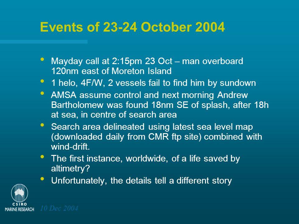 10 Dec 2004 AMSA's SARTRAK screen for 24 Oct