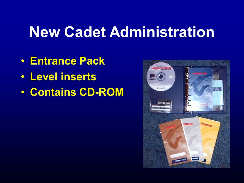 New Cadet Administration Entrance Pack Level inserts Contains CD-ROM