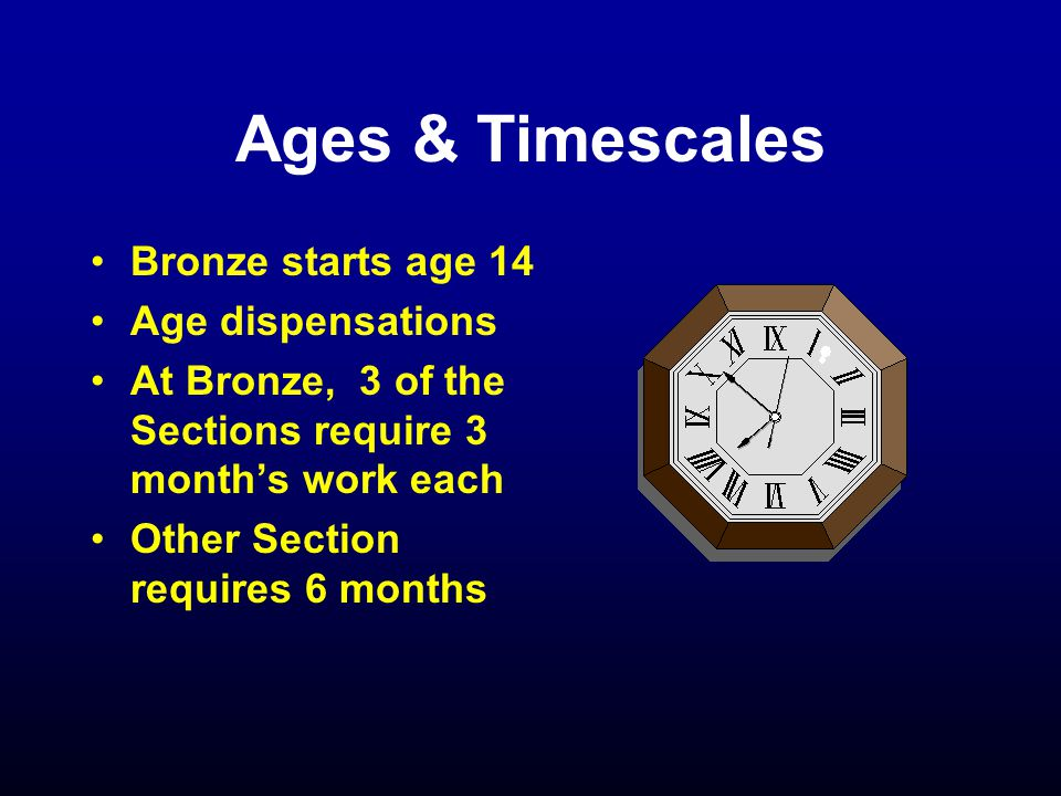 Ages & Timescales Bronze starts age 14 Age dispensations At Bronze, 3 of the Sections require 3 month's work each Other Section requires 6 months