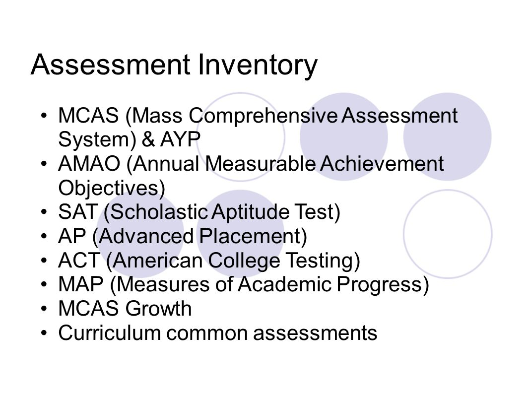 MCAS (Mass Comprehensive Assessment System) & AYP AMAO (Annual Measurable Achievement Objectives) SAT (Scholastic Aptitude Test) AP (Advanced Placement) ACT (American College Testing) MAP (Measures of Academic Progress) MCAS Growth Curriculum common assessments Assessment Inventory