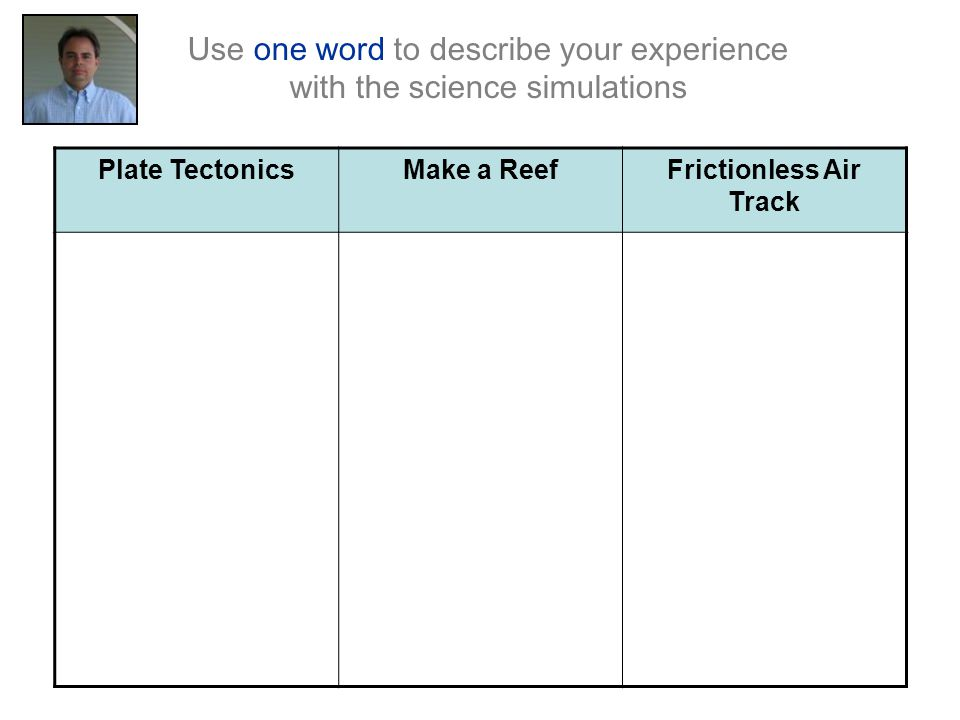 Plate TectonicsMake a ReefFrictionless Air Track Use one word to describe your experience with the science simulations