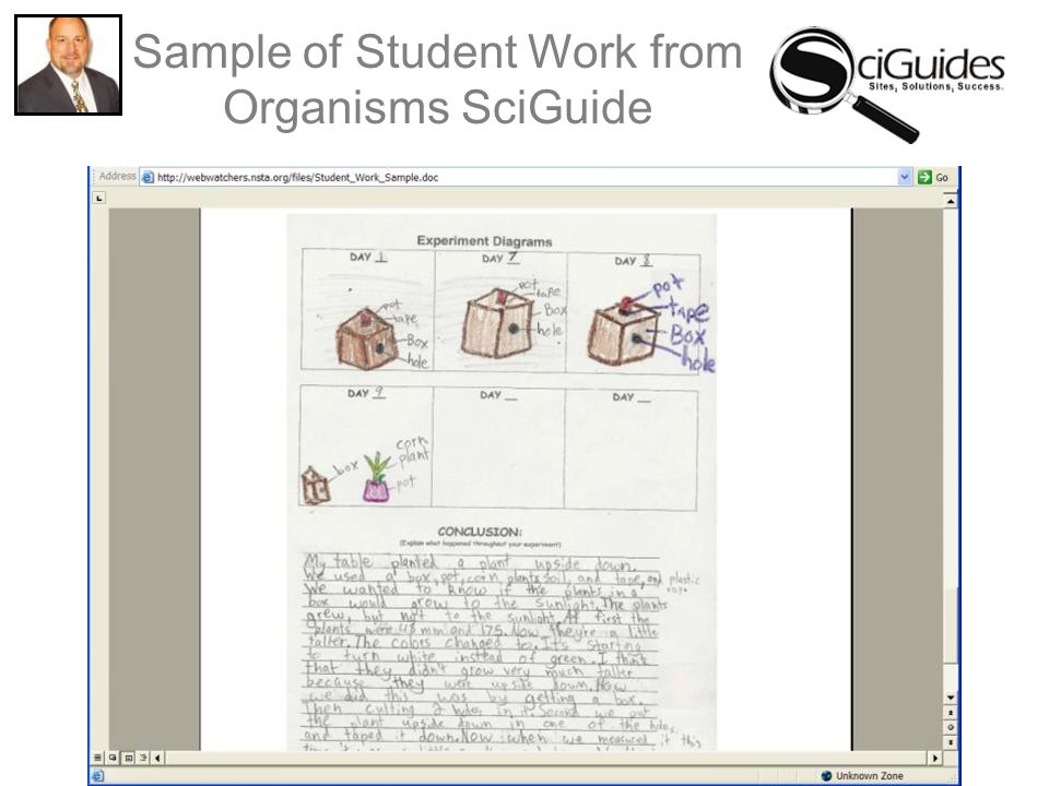 Sample of Student Work from Organisms SciGuide
