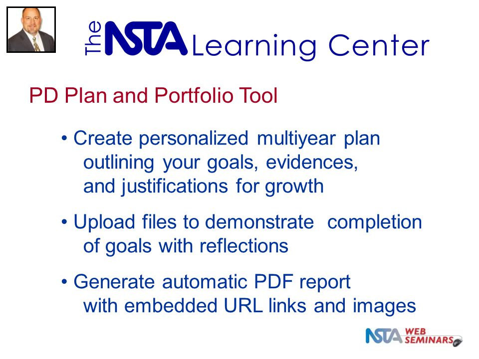 Create personalized multiyear plan outlining your goals, evidences, and justifications for growth Upload files to demonstrate completion of goals with reflections Generate automatic PDF report with embedded URL links and images PD Plan and Portfolio Tool