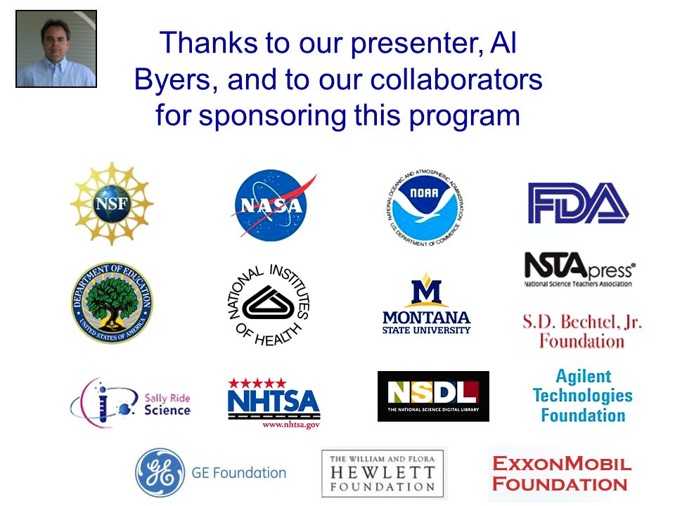 Thanks to our presenter, Al Byers, and to our collaborators for sponsoring this program