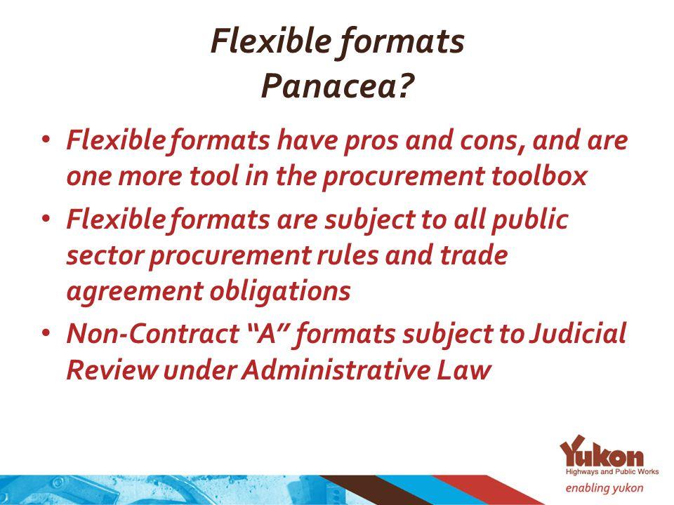 Flexible formats Panacea.