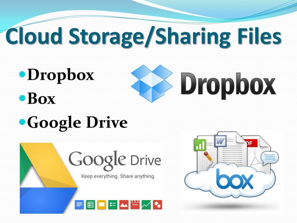 Cloud Storage/Sharing Files Dropbox Box Google Drive