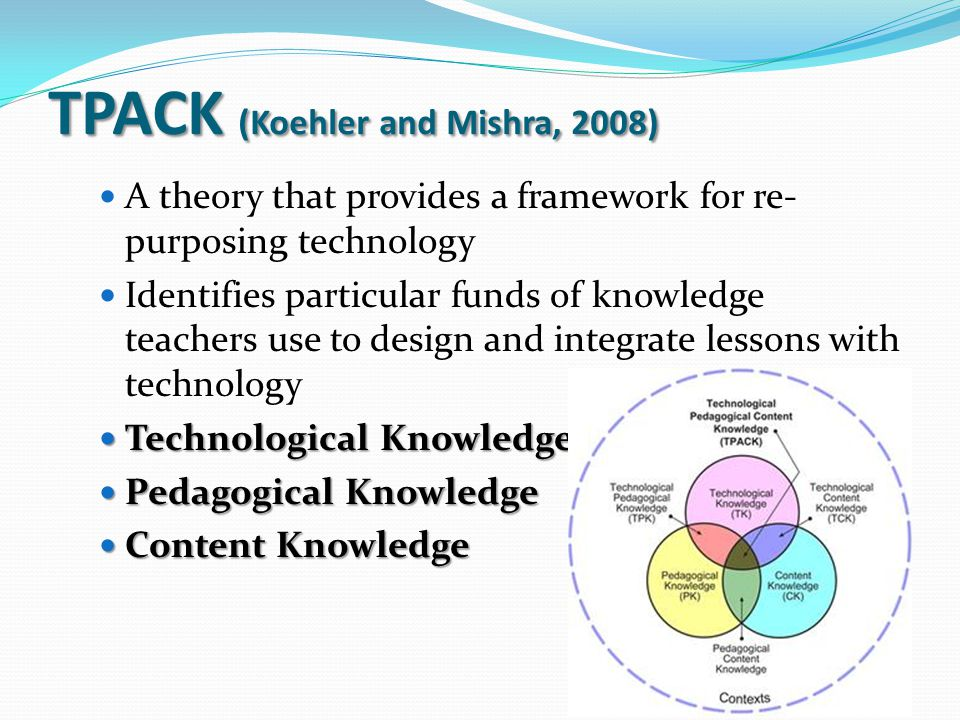 TPACK (Koehler and Mishra, 2008) A theory that provides a framework for re- purposing technology Identifies particular funds of knowledge teachers use