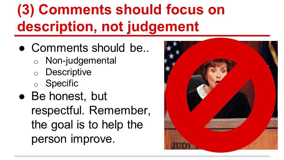 (3) Comments should focus on description, not judgement ●Comments should be..