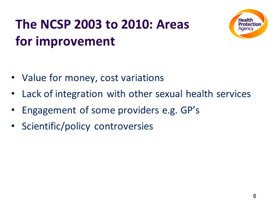 The NCSP 2003 to 2010: Areas for improvement Value for money, cost variations Lack of integration with other sexual health services Engagement of some providers e.g.