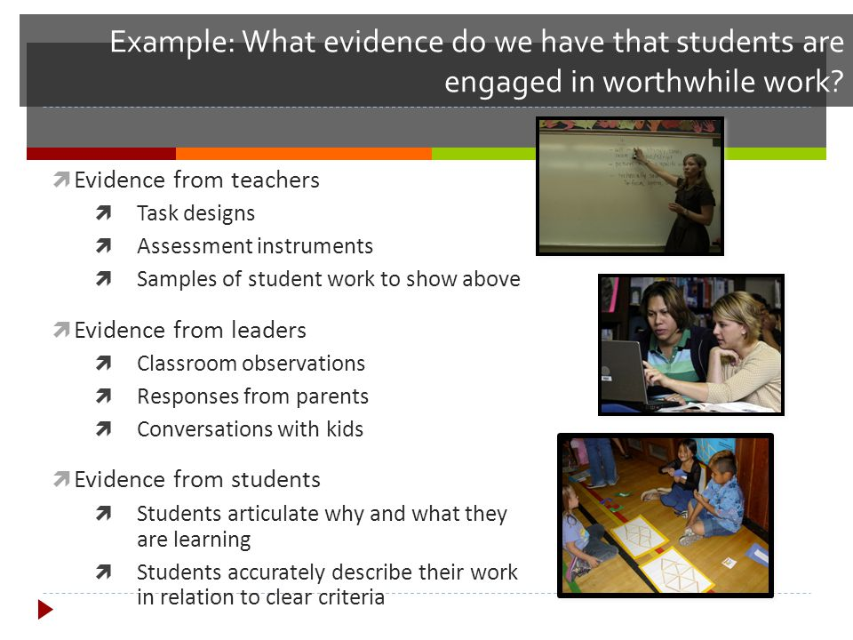Example: What evidence do we have that students are engaged in worthwhile work?  Evidence from teachers  Task designs  Assessment instruments  Sam