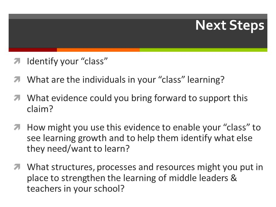 "Next Steps  Identify your ""class""  What are the individuals in your ""class"" learning?  What evidence could you bring forward to support this claim?"