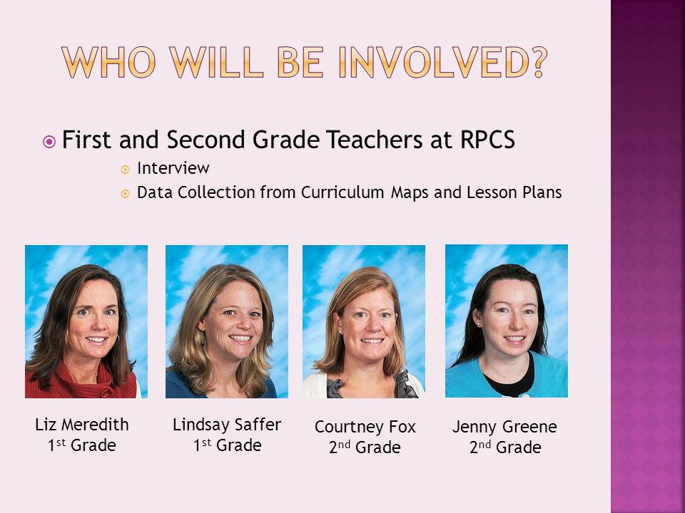  First and Second Grade Teachers at RPCS  Interview  Data Collection from Curriculum Maps and Lesson Plans Liz Meredith 1 st Grade Lindsay Saffer 1 st Grade Courtney Fox 2 nd Grade Jenny Greene 2 nd Grade