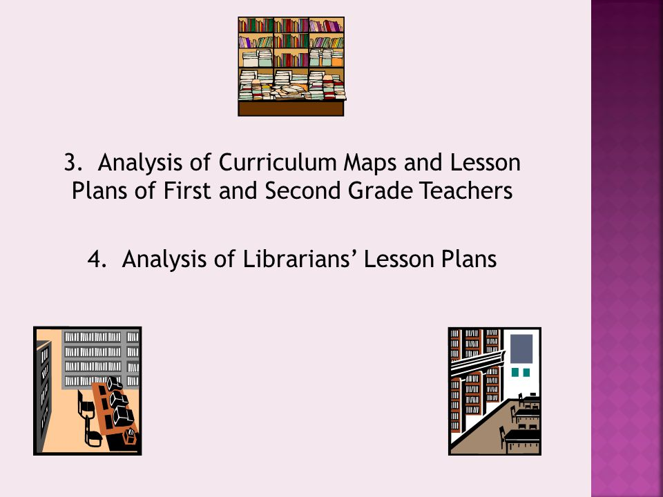 3. Analysis of Curriculum Maps and Lesson Plans of First and Second Grade Teachers 4. Analysis of Librarians' Lesson Plans