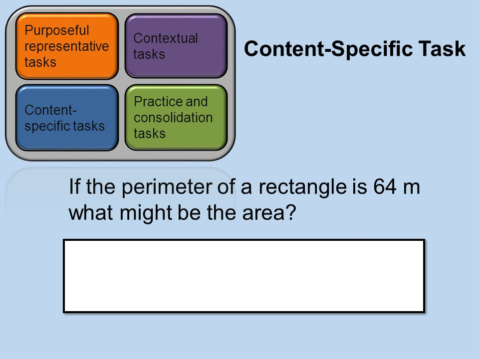 Content-Specific Task If the perimeter of a rectangle is 64 m what might be the area.