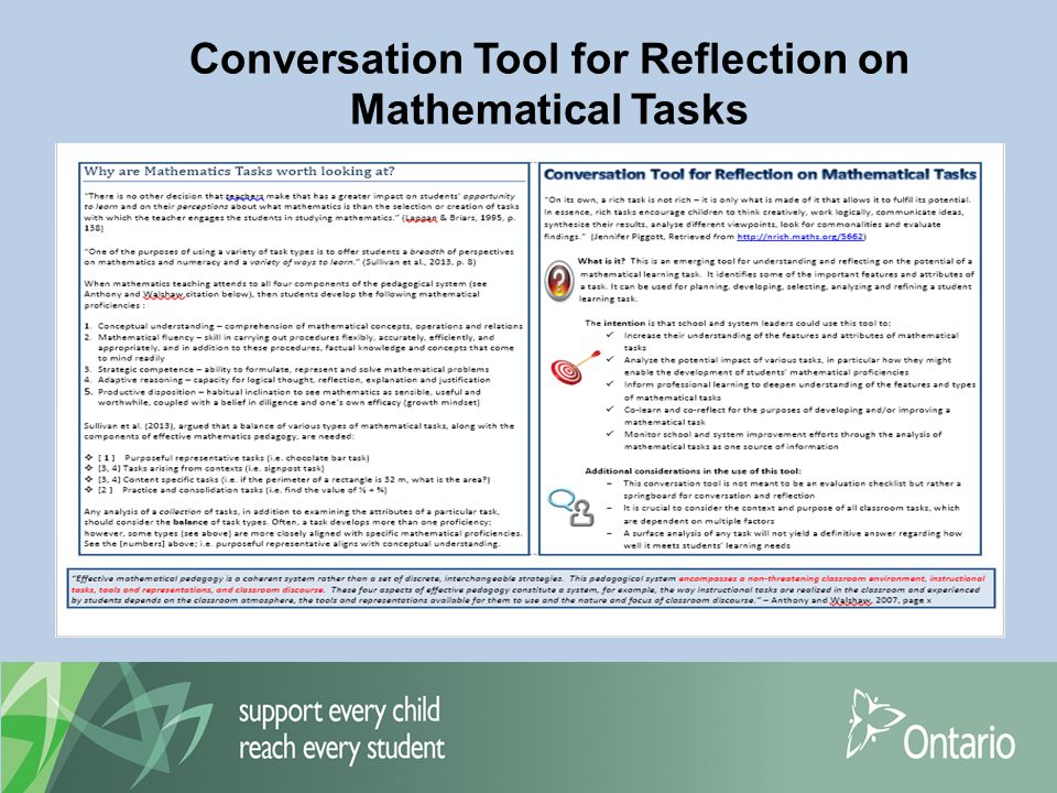 Conversation Tool for Reflection on Mathematical Tasks