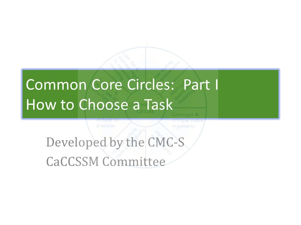 Common Core Circles: Part I How to Choose a Task Developed by the CMC-S CaCCSSM Committee