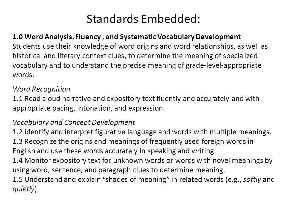Standards Embedded: 1.0 Word Analysis, Fluency, and Systematic Vocabulary Development Students use their knowledge of word origins and word relationships, as well as historical and literary context clues, to determine the meaning of specialized vocabulary and to understand the precise meaning of grade-level-appropriate words.