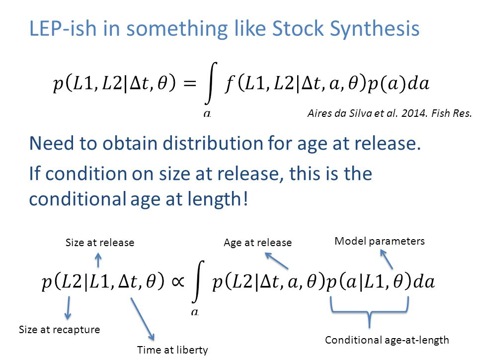 LEP-ish in something like Stock Synthesis Need to obtain distribution for age at release. If condition on size at release, this is the conditional age