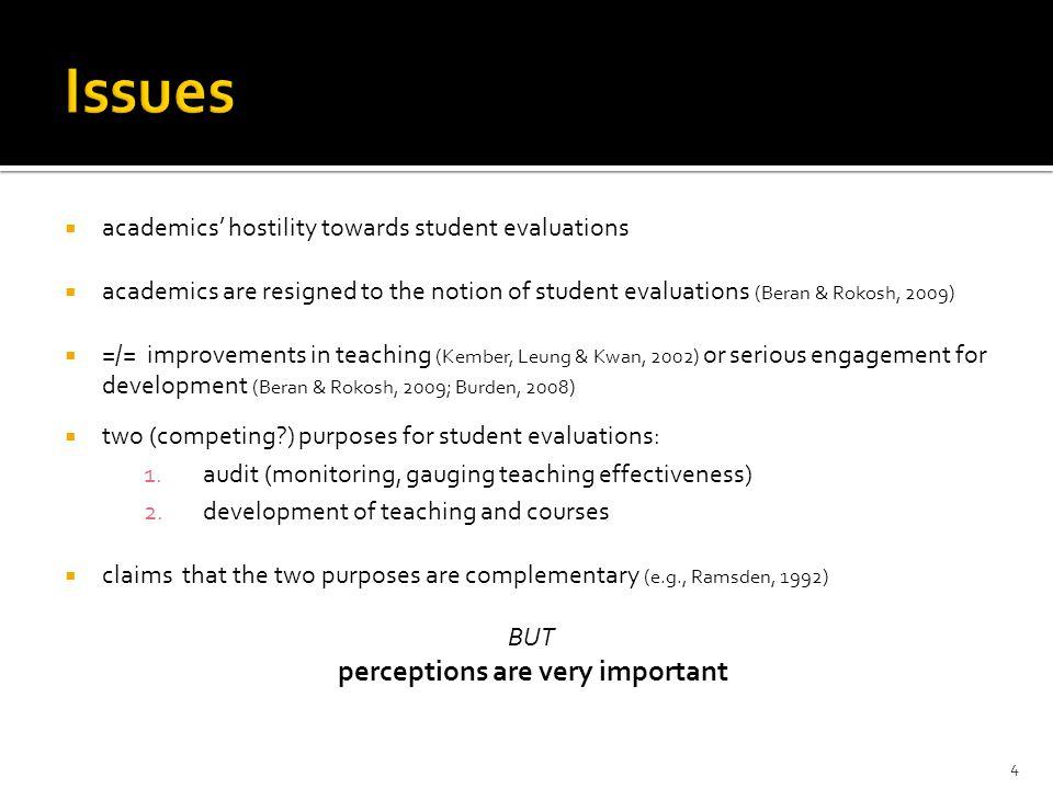  academics' hostility towards student evaluations  academics are resigned to the notion of student evaluations (Beran & Rokosh, 2009)  =/= improvem