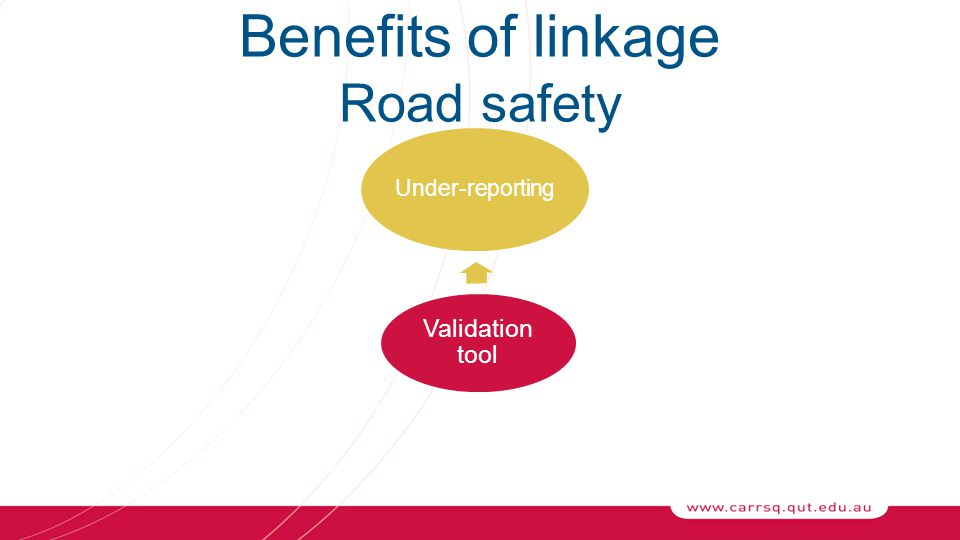 Under-reporting CircumstancesMisclassification Benefits of linkage Road safety