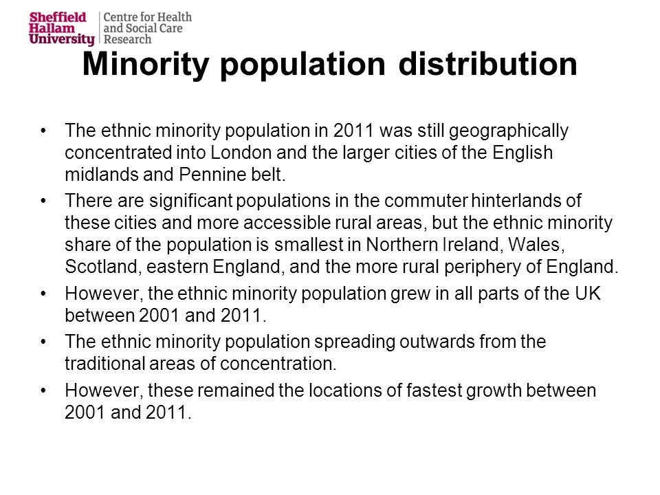 Minority population distribution The ethnic minority population in 2011 was still geographically concentrated into London and the larger cities of the English midlands and Pennine belt.