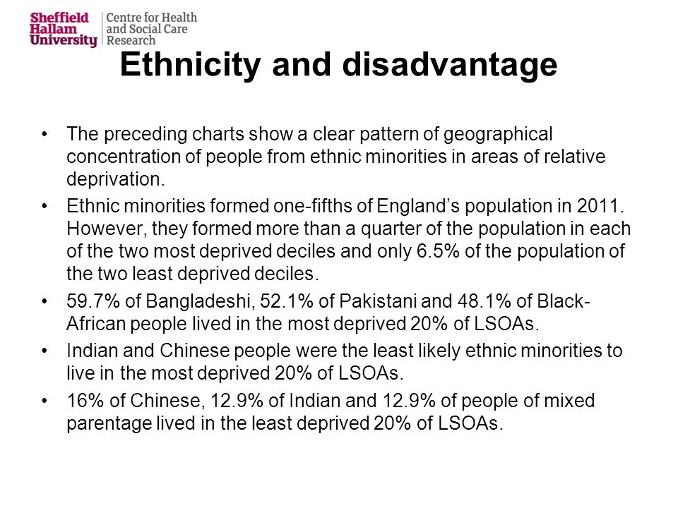 Ethnicity and disadvantage The preceding charts show a clear pattern of geographical concentration of people from ethnic minorities in areas of relative deprivation.