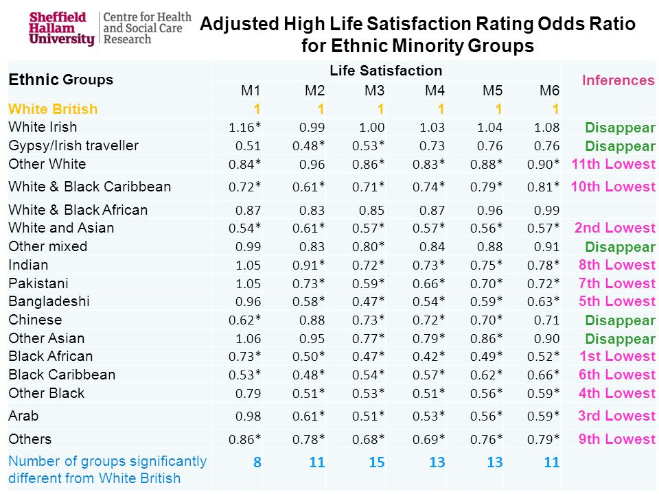 Adjusted High Life Satisfaction Rating Odds Ratio for Ethnic Minority Groups Ethnic Groups Life Satisfaction Inferences M1M2M3M4M5M6 White British111111 White Irish 1.16*0.991.001.031.041.08 Disappear Gypsy/Irish traveller 0.510.48*0.53*0.730.76 Disappear Other White 0.84*0.960.86*0.83*0.88*0.90* 11th Lowest White & Black Caribbean 0.72*0.61*0.71*0.74*0.79*0.81* 10th Lowest White & Black African 0.870.830.850.870.960.99 White and Asian 0.54*0.61*0.57* 0.56*0.57* 2nd Lowest Other mixed 0.990.830.80*0.840.880.91 Disappear Indian 1.050.91*0.72*0.73*0.75*0.78* 8th Lowest Pakistani 1.050.73*0.59*0.66*0.70*0.72* 7th Lowest Bangladeshi 0.960.58*0.47*0.54*0.59*0.63* 5th Lowest Chinese 0.62*0.880.73*0.72*0.70*0.71 Disappear Other Asian 1.060.950.77*0.79*0.86*0.90 Disappear Black African 0.73*0.50*0.47*0.42*0.49*0.52* 1st Lowest Black Caribbean 0.53*0.48*0.54*0.57*0.62*0.66* 6th Lowest Other Black 0.790.51*0.53*0.51*0.56*0.59* 4th Lowest Arab 0.980.61*0.51*0.53*0.56*0.59* 3rd Lowest Others 0.86*0.78*0.68*0.69*0.76*0.79* 9th Lowest Number of groups significantly different from White British 8111513 11