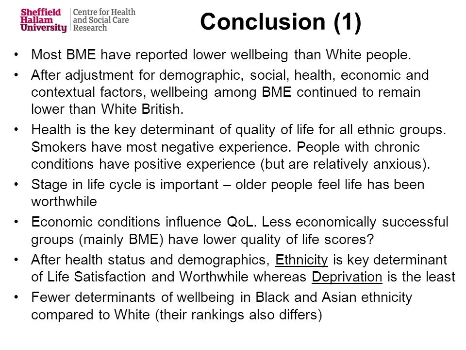 Conclusion (1) Most BME have reported lower wellbeing than White people.