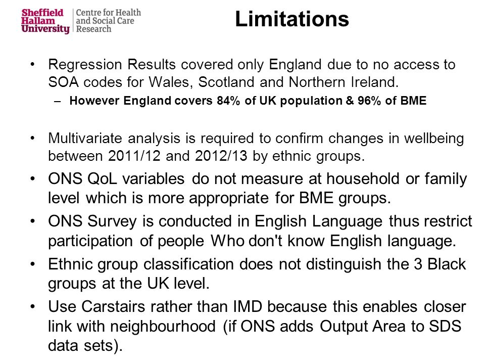 Limitations Regression Results covered only England due to no access to SOA codes for Wales, Scotland and Northern Ireland.