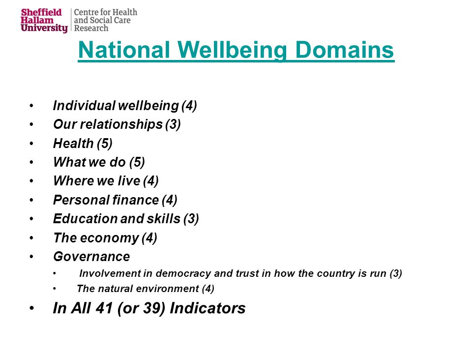 National Wellbeing Domains Individual wellbeing (4) Our relationships (3) Health (5) What we do (5) Where we live (4) Personal finance (4) Education and skills (3) The economy (4) Governance Involvement in democracy and trust in how the country is run (3) The natural environment (4) In All 41 (or 39) Indicators