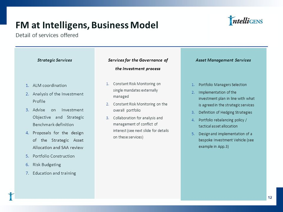 FM at Intelligens, Business Model Detail of services offered Strategic Services 1.ALM coordination 2.Analysis of the Investment Profile 3.Advise on Investment Objective and Strategic Benchmark definition 4.Proposals for the design of the Strategic Asset Allocation and SAA review 5.Portfolio Construction 6.Risk Budgeting 7.Education and training 12 Services for the Governance of the Investment process 1.Constant Risk Monitoring on single mandates externally managed 2.Constant Risk Monitoring on the overall portfolio 3.Collaboration for analysis and management of conflict of interest (see next slide for details on these services) Asset Management Services 1.Portfolio Managers Selection 2.Implementation of the investment plan in line with what is agreed in the strategic services 3.Definition of Hedging Strategies 4.Portfolio rebalancing policy / tactical asset allocation 5.Design and implementation of a bespoke Investment Vehicle (see example in App.3)