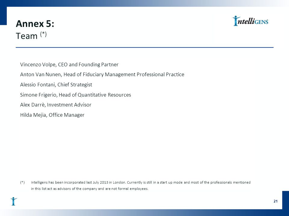 Annex 5: Team (*) Vincenzo Volpe, CEO and Founding Partner Anton Van Nunen, Head of Fiduciary Management Professional Practice Alessio Fontani, Chief