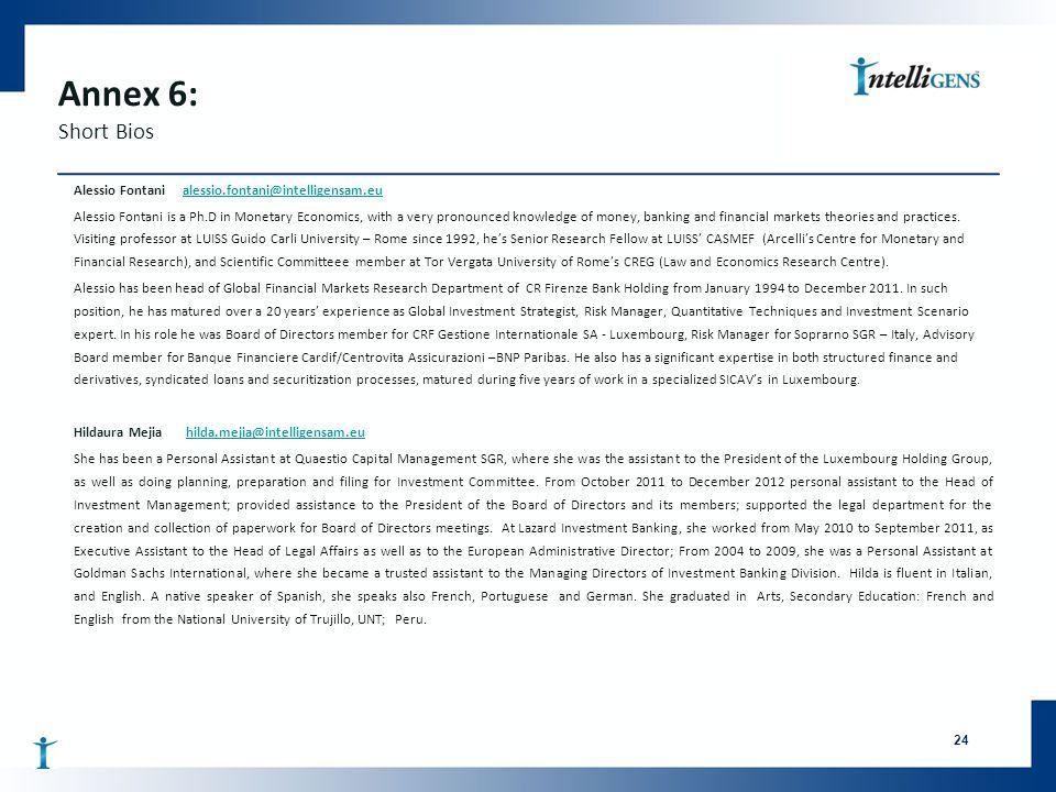 Annex 6: Short Bios Alessio Fontani alessio.fontani@intelligensam.eualessio.fontani@intelligensam.eu Alessio Fontani is a Ph.D in Monetary Economics,