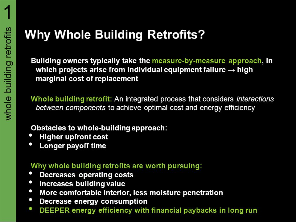 Decision-Making for whole building Retrofit (i) The energy management office must determine whether or not it is worthwhile to retrofit an existing building.