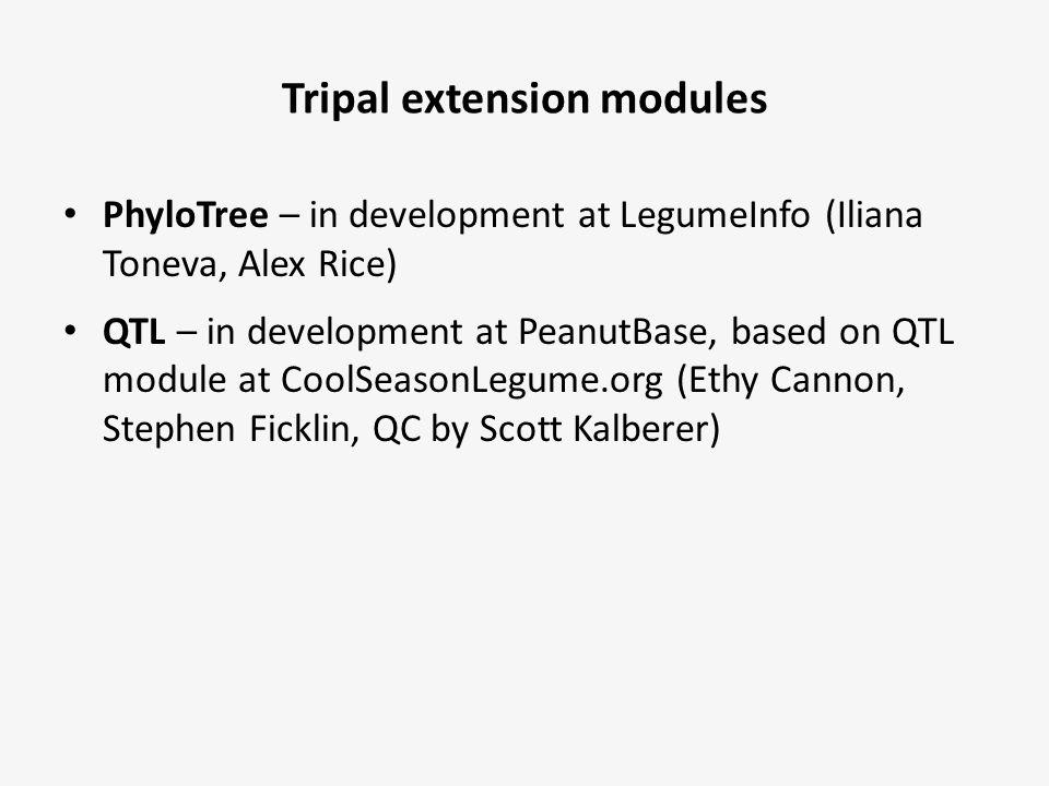 Tripal extension modules PhyloTree – in development at LegumeInfo (Iliana Toneva, Alex Rice) QTL – in development at PeanutBase, based on QTL module a