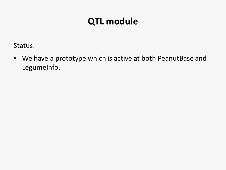 Status: We have a prototype which is active at both PeanutBase and LegumeInfo.