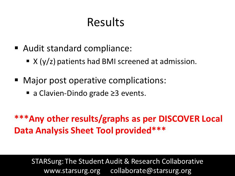 Results  Audit standard compliance:  X (y/z) patients had BMI screened at admission.