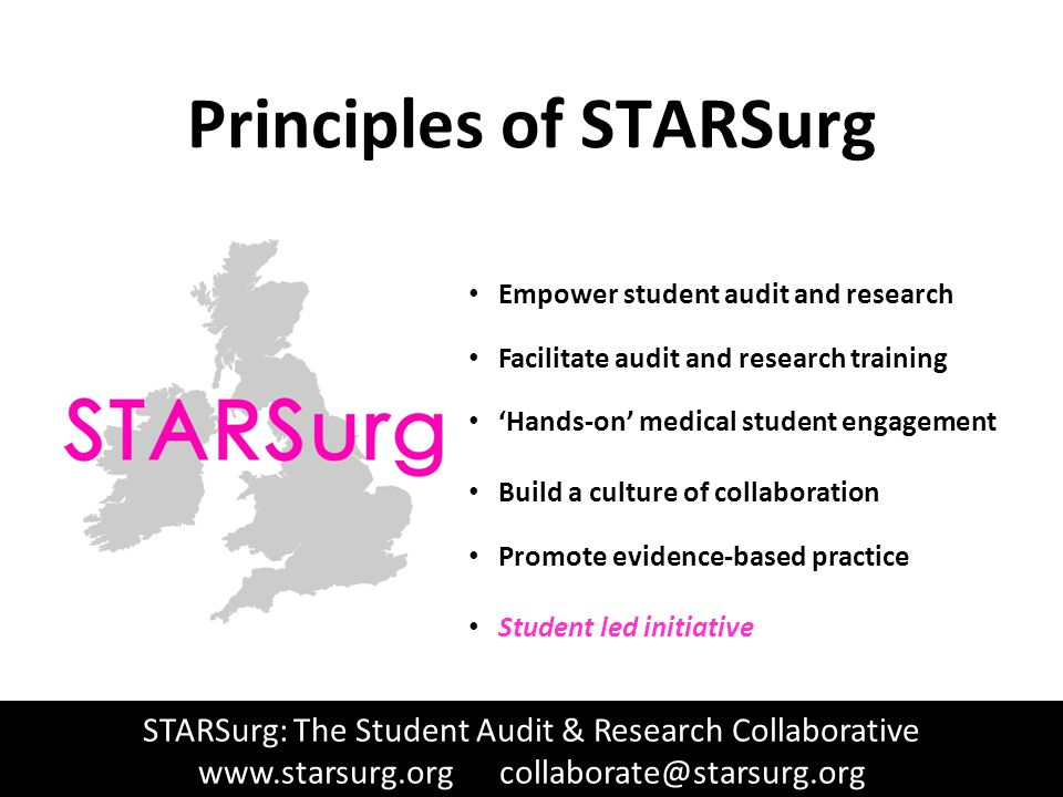www.STARSurg.org Principles of STARSurg Empower student audit and research Facilitate audit and research training 'Hands-on' medical student engagement Build a culture of collaboration Promote evidence-based practice Student led initiative STARSurg: The Student Audit & Research Collaborative www.starsurg.org collaborate@starsurg.org