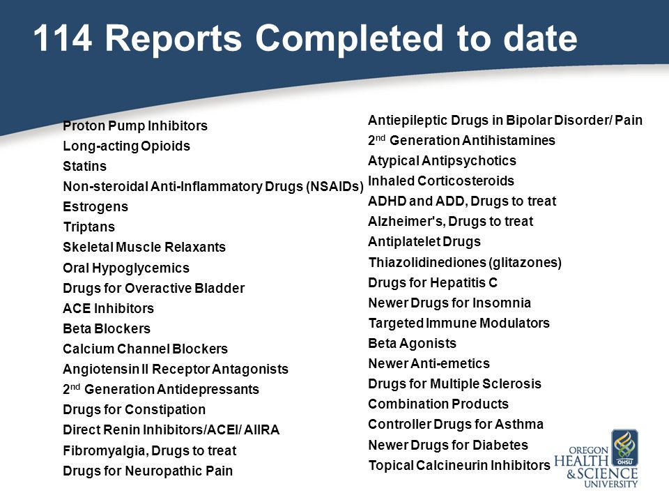 114 Reports Completed to date Proton Pump Inhibitors Long-acting Opioids Statins Non-steroidal Anti-Inflammatory Drugs (NSAIDs) Estrogens Triptans Skeletal Muscle Relaxants Oral Hypoglycemics Drugs for Overactive Bladder ACE Inhibitors Beta Blockers Calcium Channel Blockers Angiotensin II Receptor Antagonists 2 nd Generation Antidepressants Drugs for Constipation Direct Renin Inhibitors/ACEI/ AIIRA Fibromyalgia, Drugs to treat Drugs for Neuropathic Pain Antiepileptic Drugs in Bipolar Disorder/ Pain 2 nd Generation Antihistamines Atypical Antipsychotics Inhaled Corticosteroids ADHD and ADD, Drugs to treat Alzheimer s, Drugs to treat Antiplatelet Drugs Thiazolidinediones (glitazones) Drugs for Hepatitis C Newer Drugs for Insomnia Targeted Immune Modulators Beta Agonists Newer Anti-emetics Drugs for Multiple Sclerosis Combination Products Controller Drugs for Asthma Newer Drugs for Diabetes Topical Calcineurin Inhibitors