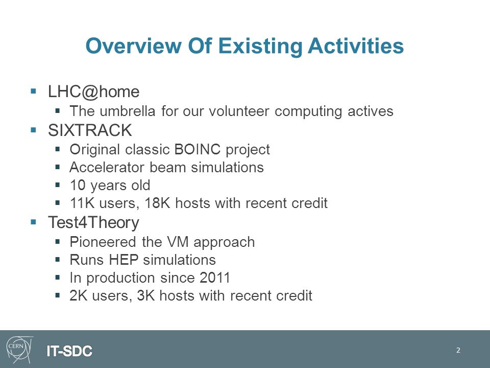 Overview Of Existing Activities  LHC@home  The umbrella for our volunteer computing actives  SIXTRACK  Original classic BOINC project  Accelerator beam simulations  10 years old  11K users, 18K hosts with recent credit  Test4Theory  Pioneered the VM approach  Runs HEP simulations  In production since 2011  2K users, 3K hosts with recent credit 2