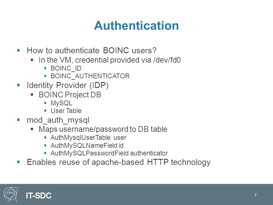 Authentication  How to authenticate BOINC users.