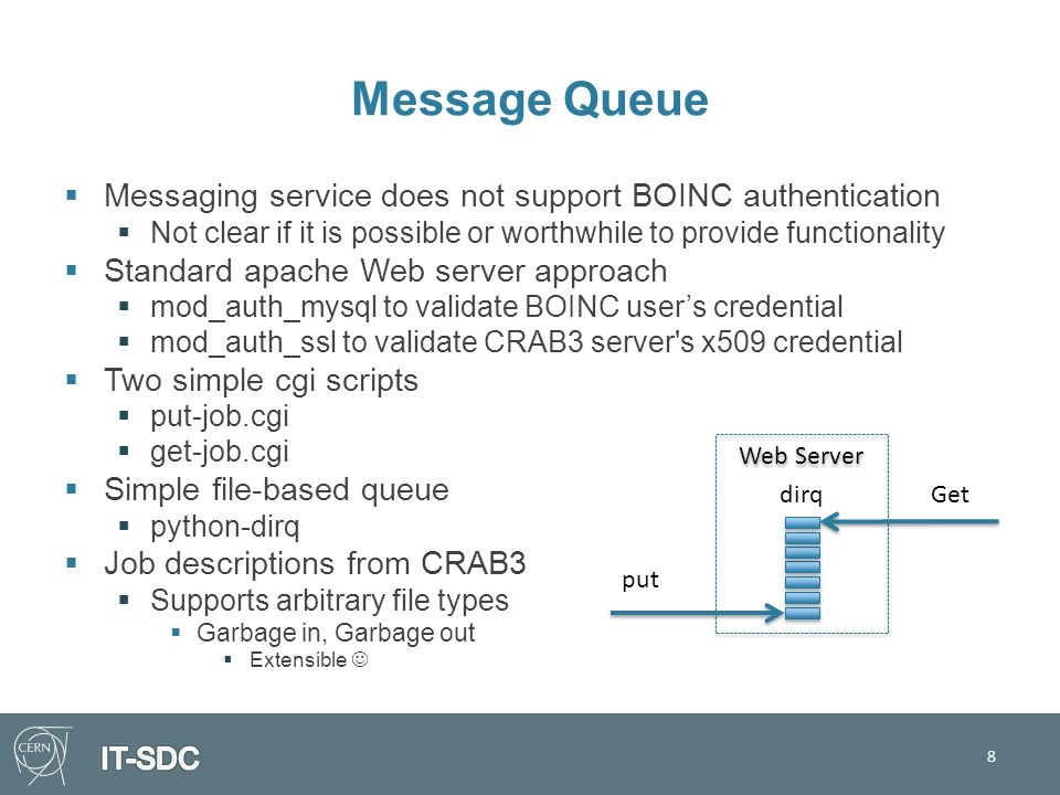 Message Queue  Messaging service does not support BOINC authentication  Not clear if it is possible or worthwhile to provide functionality  Standard apache Web server approach  mod_auth_mysql to validate BOINC user's credential  mod_auth_ssl to validate CRAB3 server s x509 credential  Two simple cgi scripts  put-job.cgi  get-job.cgi  Simple file-based queue  python-dirq  Job descriptions from CRAB3  Supports arbitrary file types  Garbage in, Garbage out  Extensible 8 Web Server dirq put Get