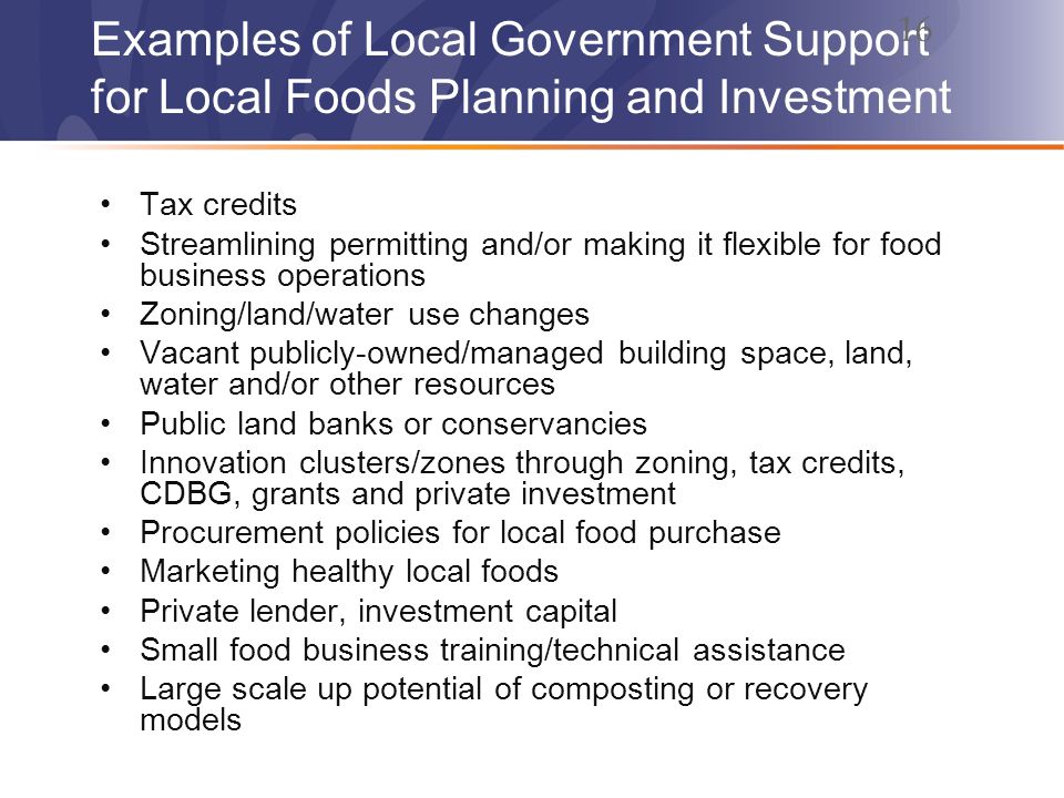 Examples of Local Government Support for Local Foods Planning and Investment Tax credits Streamlining permitting and/or making it flexible for food business operations Zoning/land/water use changes Vacant publicly-owned/managed building space, land, water and/or other resources Public land banks or conservancies Innovation clusters/zones through zoning, tax credits, CDBG, grants and private investment Procurement policies for local food purchase Marketing healthy local foods Private lender, investment capital Small food business training/technical assistance Large scale up potential of composting or recovery models 16