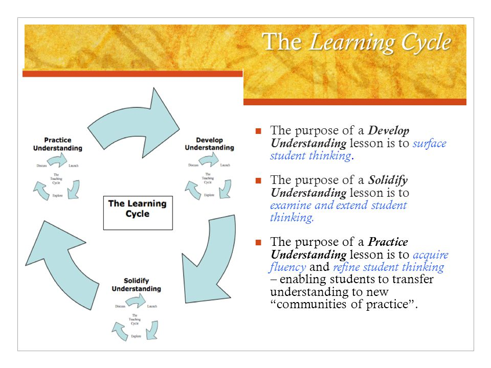 The Learning Cycle The purpose of a Develop Understanding lesson is to surface student thinking.