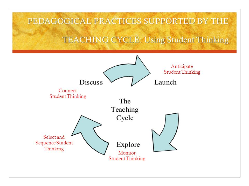 PEDAGOGICAL PRACTICES SUPPORTED BY THE TEACHING CYCLE: Learning Environment Determine groupings: individual, pairs, small group Tools to support exploration and discourse Sociomathematical norms: criteria for attending to and judging the work of peers