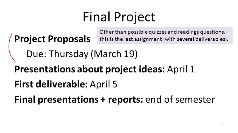 Final Project Project Proposals Due: Thursday (March 19) Presentations about project ideas: April 1 First deliverable: April 5 Final presentations + r