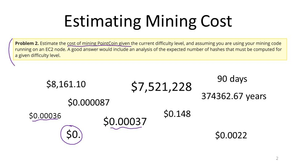 Estimating Mining Cost 2 $7,521,228 $0.148 $0.00037 $0.000087 374362.67 years $0.0022 $8,161.10 $0.