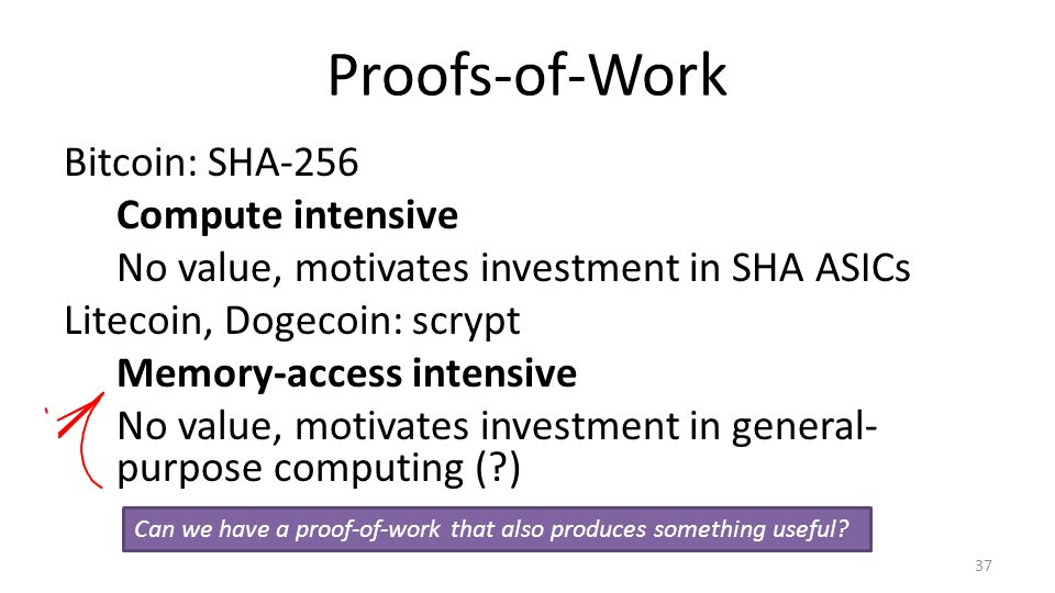 Proofs-of-Work Bitcoin: SHA-256 Compute intensive No value, motivates investment in SHA ASICs Litecoin, Dogecoin: scrypt Memory-access intensive No value, motivates investment in general- purpose computing (?) 37 Can we have a proof-of-work that also produces something useful?